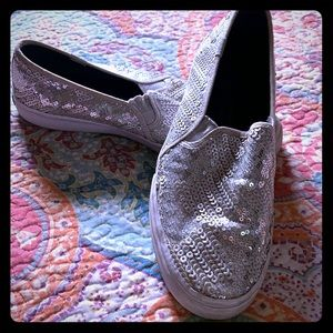 Keds silver sequin shoes